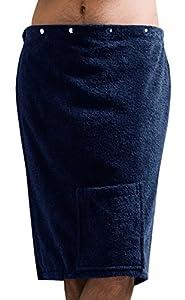 Saunahandtuch Herren Lashuma Baumwolle Frottee blau mit Druckknöpfen